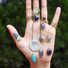 More than just a handful! A great taste of our Tesoro collection as well as our classics! Featuring our Tesoro stone and coin ring, our Oversized Tesoro coin and stone necklace as well as our one-of-a-kind labradorite necklace and our one-of-a-kind pave diamond labradorite ring to name a few! Check out www.shaesby.com to see more of our collections and our great products! #finejewelry #labradorite #pavediamonds #mixedmetals #ringstack # #shop #oneofakind #customjewelry #handmade