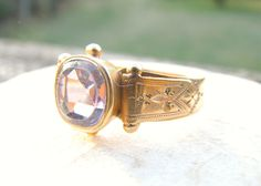 Antique Amethyst Gold Ring, Large Old Cut Stone, 2.26 carats, Beautiful Details in 14K Gold, Hallmarked, Victorian, Hard to Find Large Size by Franziska on Etsy https://www.etsy.com/listing/490556072/antique-amethyst-gold-ring-large-old-cut