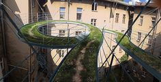 Suspended green walkway in Gliwice, Poland