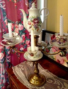 Tea party candelabra! Candelabra with teacup candle holders.  find it on etsy shop www. tiersofbliss.etsy .com