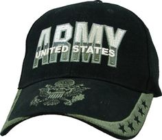 f77e3b6a113 US Army 5 Star Black Embroidered Military Baseball Cap Military Store