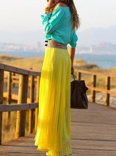 Yellow Maxi skirt with a teal top
