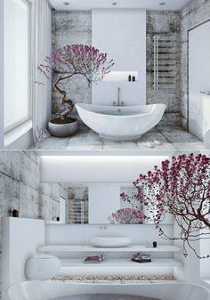 Badezimmer Zen Stil weiße freistehende Badewanne Bonsai