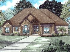 French Country Home Plan with 2252 Square Feet and 3 Bedrooms from Dream Home Source | House Plan Code DHSW077732