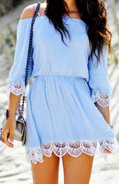 Stylish Spaghetti Strap Lace Embellished Flare Dress