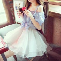 Korean sweet sling strapless organza dress from Asian Cute ,Homecoming Dresses Prom Dresses , · HotProm · Online Store Powered by Storenvy Harajuku Fashion, Kawaii Fashion, Lolita Fashion, Cute Fashion, Girl Fashion, Fashion Dresses, Sweet Fashion, Women's Dresses, Style Fashion