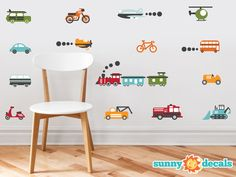 Transportation Theme Fabric Wall Decals for Nursery by SunnyDecals ($30)