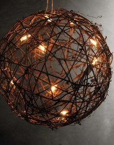 Grapevine Ball with String Lights 9in
