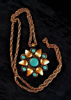 Solid Copper Faux Turquoise Necklace Bell Trading Post on Etsy