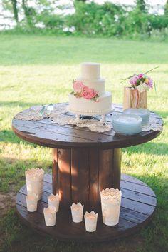 Wedding Cake Table Wooden Spool Crochet Doily Runner