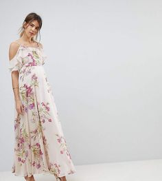 5117cfb09929 Asos Maternity Floral Print Maxi Dress With Ruffle Cold Shoulder. Carly  Susanne · Maternity Wedding Guest Dress · Queen Bee Cold Shoulder Detail ...