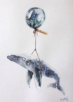blue - whale and baloon - To: far, far, away - illustration - Brigitte May Art Aquarelle, Watercolor Art, Art And Illustration, Lapin Art, Art Graphique, Art Inspo, Painting & Drawing, Whale Painting, Whales