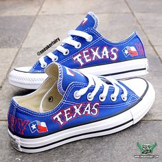 sneaker fairy fetti dbiasi custom sneakers converse chucks chuck taylor low blue royal texas rangers baseball mlb shoes dallas fort worth alamo