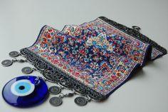 Handmade Turkish Rug with Evil Eye Bead by TheGrandBazaar on Etsy,