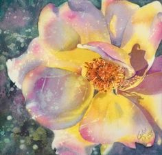 Vibrant floral design with watercolors & resists