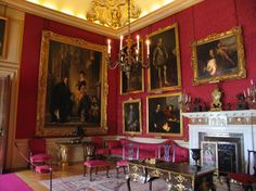 Blenheim Palace - The Red Salon featuring a portrait of Consuela Vanderbilt and her husband, 9th Duke. Also, above the fireplace is the last portrait van Dyck painted...a self portrait.