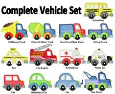 Complete Vehicle Set Applique Machine Embroidery Design boy dump, tow, fire truck, police car construction INSTANT DOWNLOAD by AppliquetionStation on Etsy https://www.etsy.com/listing/202007050/complete-vehicle-set-applique-machine
