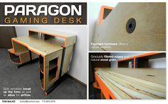 The Paragon Gaming Desk is a gamer's dream come true Gaming Desk Designs, Computer Desk Design, Pc Desk, Toms, Side Window, Gaming Setup, Industrial Design, Natural Wood, Furniture Design