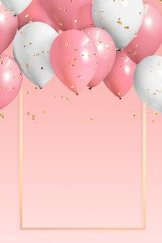 Golden frame balloons on a pink background Happy Birthday Frame, Happy Birthday Wallpaper, Happy Birthday Wishes Cards, Birthday Frames, Happy Birthday Images, Birthday Messages, Birthday Cards, Birthday Collage, Happy Birthday Template