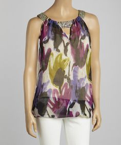 Look at this #zulilyfind! La Moda Clothing Purple Floral Embellished Tunic by La Moda Clothing #zulilyfinds