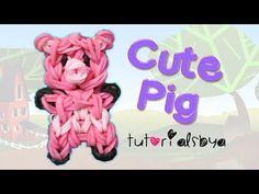 Rainbow Loom Cute PIG Charm/Mini Figurine. Designed and loomed by TutorialsByA. Click photo for YouTube tutorial. 03/14/14