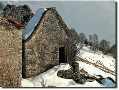 Old abandoned mountain hut, in the Taleggio Valley, via Flickr.