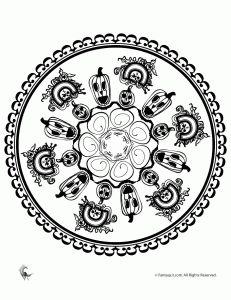 Jack O Lantern Mandala (Halloween Mandala Coloring Pages)