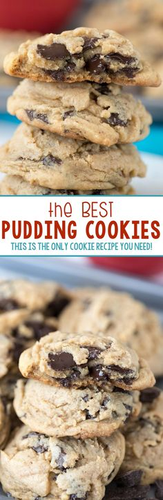 BEST Pudding Cookies Recipe - this is the only cookie recipe you need! Use your favorite pudding mix to make the softest, puffiest cookies that stay fresh for days!