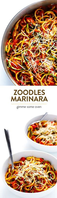 Zoodles Marinara -- Delicious zucchini noodles are tossed with a delicious chunky tomato sauce in this easy dish! Feel free to add in some protein or extra veggies if you'd like. | gimmesomeoven.com