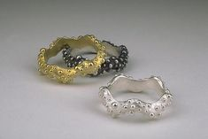 Wavy Bumpy Ring by Dahlia Kanner. ;*Lost wax* cast bumpy textured ring. Available in whole, half, and quarter sizes. Your choice of bright sterling silver, *oxidized:oxidize* silver or 18k yellow gold.