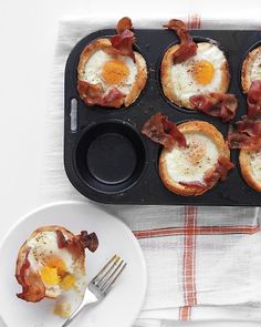 Bacon, Egg, and Toast Cups. Butter slices of bread and slip them into a muffin tray. Cook the bacon on a skillet and put desired amount of bacon into each muffin cup. Pour an egg in each and cook in the oven at 375 degrees for about 20-25 minutes. Run a knife around the edges to loosen the toast and then serve it up!