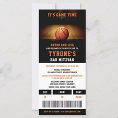 Bar Mitzvah Invitations | Basketball Ticket Basketball Tickets, Basketball Gifts, Bar Mitzvah Party, Bat Mitzvah, Bar Mitzvah Invitations, Kids Events, Personal Photo, Invitation Design, Fun