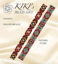 Pattern, peyote bracelet - Happiness peyote bracelet pattern in PDF - two versions - instant download