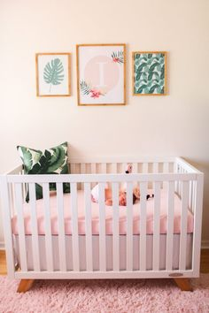 Isla's Tropical Escape Blush & Leaf Print Nursery Tropical Nursery Gallery Wall Nursery Themes, Nursery Room, Girl Nursery, Girl Room, Nursery Decor, Nursery Ideas, Nursery Artwork, Safari Nursery, Themed Nursery