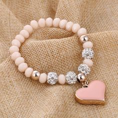 Product Information: Type: Bracelets Material: Crystal, Zinc Alloy Feature: Charm pendant Size: One size fits all Package Includes: 1 x Romantic Heart Charm Pendant Bracelet