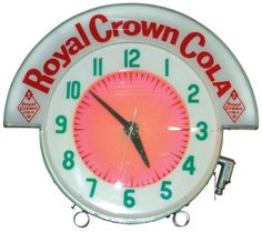 Cleveland neon clock w/Royal Crown Cola marquee