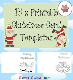 FREE 10 x Printable Christmas Card Templates PDF file   Your free Christmas card templates have been designed with the busy teacher in mind. Your black and white card templates will give your students opportunities to engage in the Christmas tradition of making and giving a Christmas card(s) to a loved one or friend. Students will decorate and write on their card with the purpose of giving and brightening up someone's Christmas.