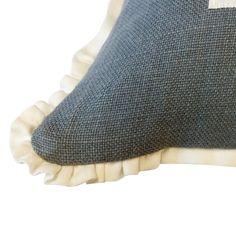 Nautical Pillow - Blue Linen with White Ribbon