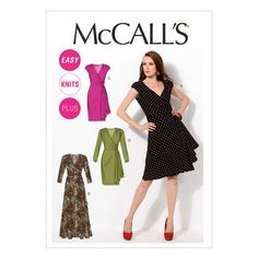 Front Variation Drape McCalls Pattern M7245 Ms Dress w//Pleated Sleeve ~ Collar