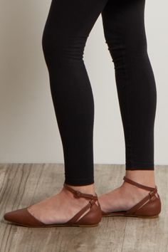 Brown Pointed Ankle Strap Flat