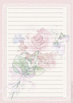 """""""Roses of Love"""" w/ envelopes Printable Lined Paper, Free Printable Stationery, Pink Paper, Colored Paper, Lined Writing Paper, Envelopes, Notebook Paper, Journal Paper, Stationery Paper"""