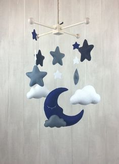 Baby mobile - moon mobile - cloud mobile - sleeping moon - midnight mobile - night sky mobile - home decor - star mobile - nursery decor - - ~ ~ Welcome to Juniper Street Designs, where all of my phones are handcrafted with love for years t - Star Mobile, Cloud Mobile, Mobile Mobile, Mobile Homes, Cool Baby, Baby Boy Rooms, Baby Boy Nurseries, Baby Room, Moving Clouds