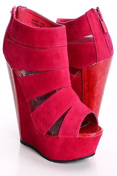 RASPBERRY FAUX SUEDE SNAKE SKIN MESH INSERT BOOTIE WEDGES PRICE  $28.99  #wedges #shoes