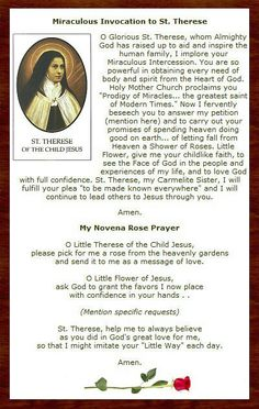 Novena to Saint Therese of Lisieux