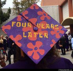 "Funny spongebob reference ""four years later"" for graduation cap decoration Disney Graduation Cap, Funny Graduation Caps, Graduation Cap Designs, Graduation Cap Decoration, Graduation Diy, Grad Cap, Decorated Graduation Caps, Graduation Parties, Graduation Celebration"