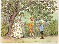 Elsa Beskow: Lasse liten-the trädgården - Fru Astrakhan Elsa Beskow, Art And Illustration, Vintage Images, Female Art, Illustrators, Fantasy Art, Fairy Tales, Artsy, Sketches
