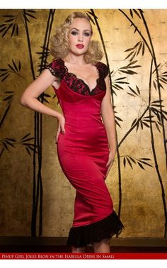 Isabelle Dress in Red-Feel almost ridiculously sexy in this beautiful satin gown. Made of Meredith Satin, the bust is fused and has structured cups. The plunging, redesigned neckline features beautiful French style eyelet lace along the cups and the shoulders. - See more at: http://www.pinupgirlclothing.com/isabelle-dress-rd.html#sthash.wgtjy8eJ.dpuf