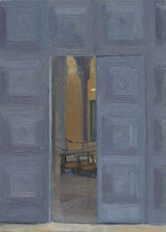 """Eleanor Ray '09: Ravenna Doors, oil on panel, 7"""" x 5"""", 2015   From """"Beyond Amherst: Recent Work of Five Alumni"""" on display at Eli Marsh Gallery, February-March 2016."""