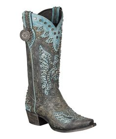 Blue Embellished Brave Eagle Leather Cowboy Boot by Lane Boots #zulily #zulilyfinds