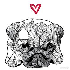 """""""Geometric Sketchy Baby Pug Puppy"""" by polliadesign Cool Art Drawings, Art Drawings Sketches, Mops Tattoo, Art Du Croquis, Geometric Drawing, Geometric Art Tattoo, Geometric Animal, Baby Pugs, Pug Art"""